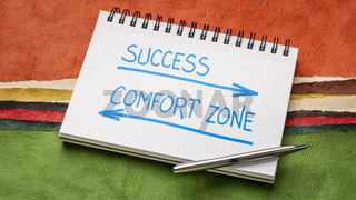 success and comfort zone concept