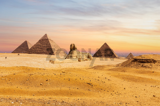 Giza desert, view on the Great Sphinx and the Pyramids, Egypt