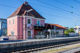 Municipal Germering, District Fürstenfeldbruck, Upper Bavaria, Germany: Building of S-Bahnof Germering, Line S8