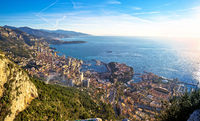 Principality of Monaco aerial panoramic coastline view