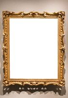 vertical old baroque painting frame on wall