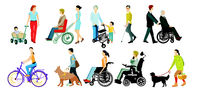 Disabled person and walking aids, isolated