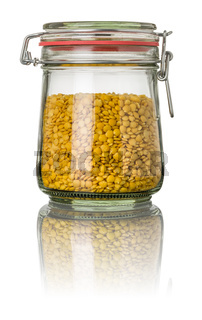 Yellow lentils in a jar