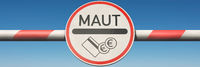 Barrier with toll sign (Maut in German)