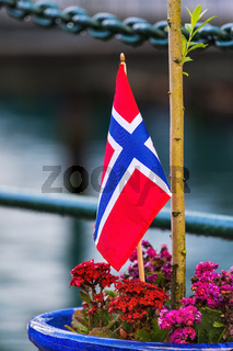 Norwegian flag and flowers