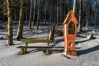 Winter hike around Lake Hosskirch near Koenigseggwald