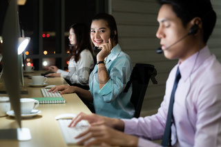Call Center working at night.