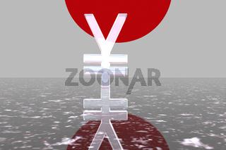 Yen-Symbol mit japanuscher Flagge im Hintergrund