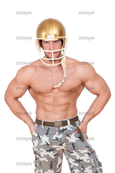 American football player isolated.