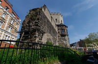 remains of the medieval city wall at the severinstorburg in cologne's old town