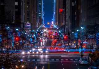 Night Traffic on 42 Street in New York City
