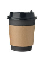 Black paper takeaway coffee cup with sleeve and lid