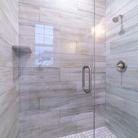 Square frame Large modern tiled shower cubicle bright interior