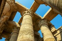 Ancient pillars with hieroglyphics in Egypt