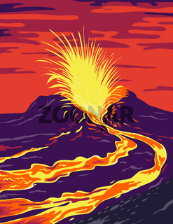 Hawaii Volcanoes National Park with active KIlauea volcano United States WPA Poster Art Color