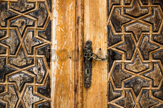 Detail of a door with arab ornament carvings at Emir Bachir Chahabi Palace Beit ed-Dine in mount Lebanon Middle east, Lebanon