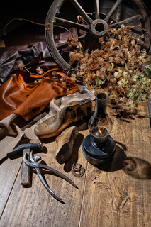 Still Life With Shoes And Tools