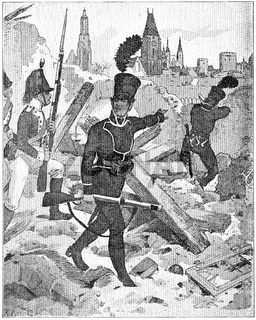 Wuerttemberg troops in the siege of Breslau in 1806 (Wroclaw). Illustration of the 19th century. Germany. White background.