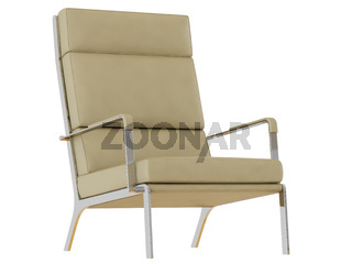 Beige leather armchair with high backrest on a white background 3d rendering