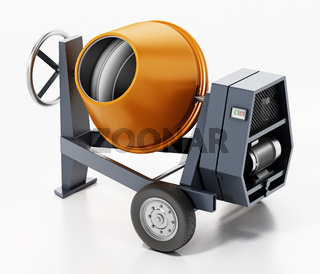 Cement mixer isolated on white background. 3D illustration