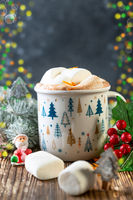 Hot chocolate with marshmallow and orange zest.