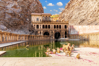 Galta Ji Temple or Monkey Temple complex in Jaipur, India