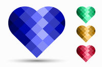 collection of segmented mosaic hearts isolated on white background