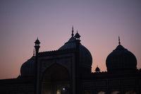 Silhouette of Jama Masjid in Old Delhi, India