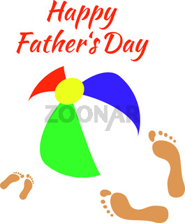 Fathers Day. Bright ball, footprints of father and child