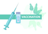 Vaccination protection against virus and disease. Syringe and glass jar with a vaccine, medicine concept icon flat style. Isolated on a white background. Vector illustration