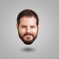 Levitating head of a bearded smiling man isolated on grey background. Creativity, cleverness and int