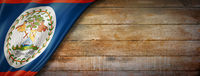 Belize flag on vintage wood wall banner