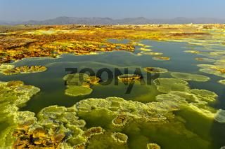Kristallisierte Sulfide einem gesättigten sauren Salzlaugenpool, Geothermalgebiet Dallol,Äthiopien