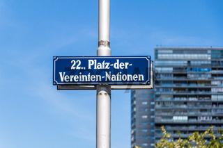Street Sign of Square of United Nations, ger. Platz-der-Vereinten-Nationen in Danube City, Vienna, Austria, Europe