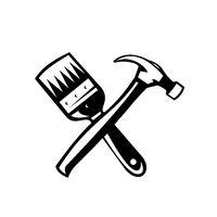 Crossed Paint Brush and Hammer Retro Black and White