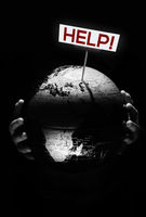 Hands of child holding globe. Our planet need help sign