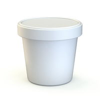 White ice cream tub Front view 3D