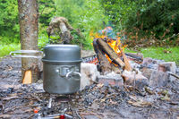 accessories for outdoor travel, tourist pot, fire and tea