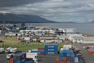 Trucks and containers ready for transportation at port of Akureyri in Iceland