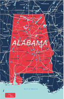Alabama state detailed editable map
