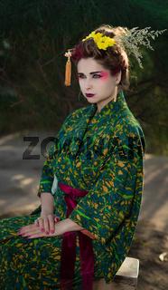 Beautiful woman in Geisha kimono