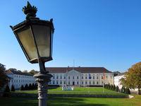 Slate lantern in front of Bellevue Castle in Belin