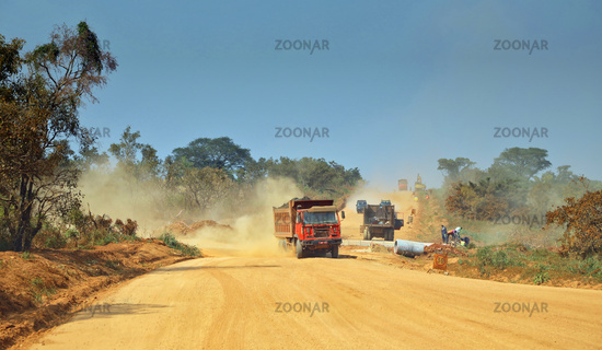 Environmental destruction with road construction at Murchison Falls National Park Uganda