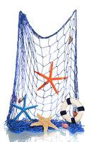 Blue fishing net with shells