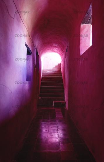 Corridor and staircase of the monestary Convent de San Bernardino de Siena in Valladolid, Mexico