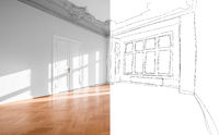 flat renovation, photo and sketch of renovated room