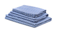 Stack of blue cotton bedding