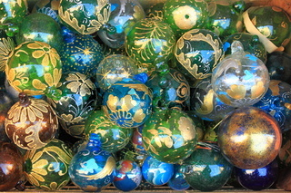Pile of glass christmas baubles
