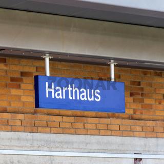 Municipal Germering, District Fürstenfeldbruck, Upper Bavaria, Germany: Sign with Inscription of S-Bahnhof Harthaus.