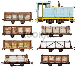 Set of vintage locomotive and cars isolated on white